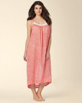 Oscar de la Renta Mosaic Petals Long Cotton Nightgown Apricot Print