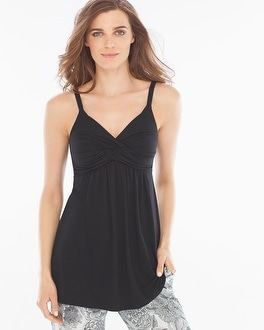 Embraceable Cool Nights Draped Twist Front Sleep Cami Black