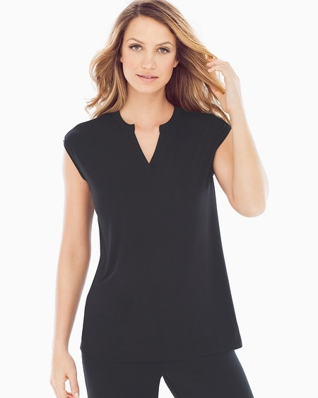 Cap Sleeve V-Neck Pajama Top Black