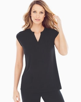 Embraceable Cool Nights Cap Sleeve V-Neck Pajama Top Black