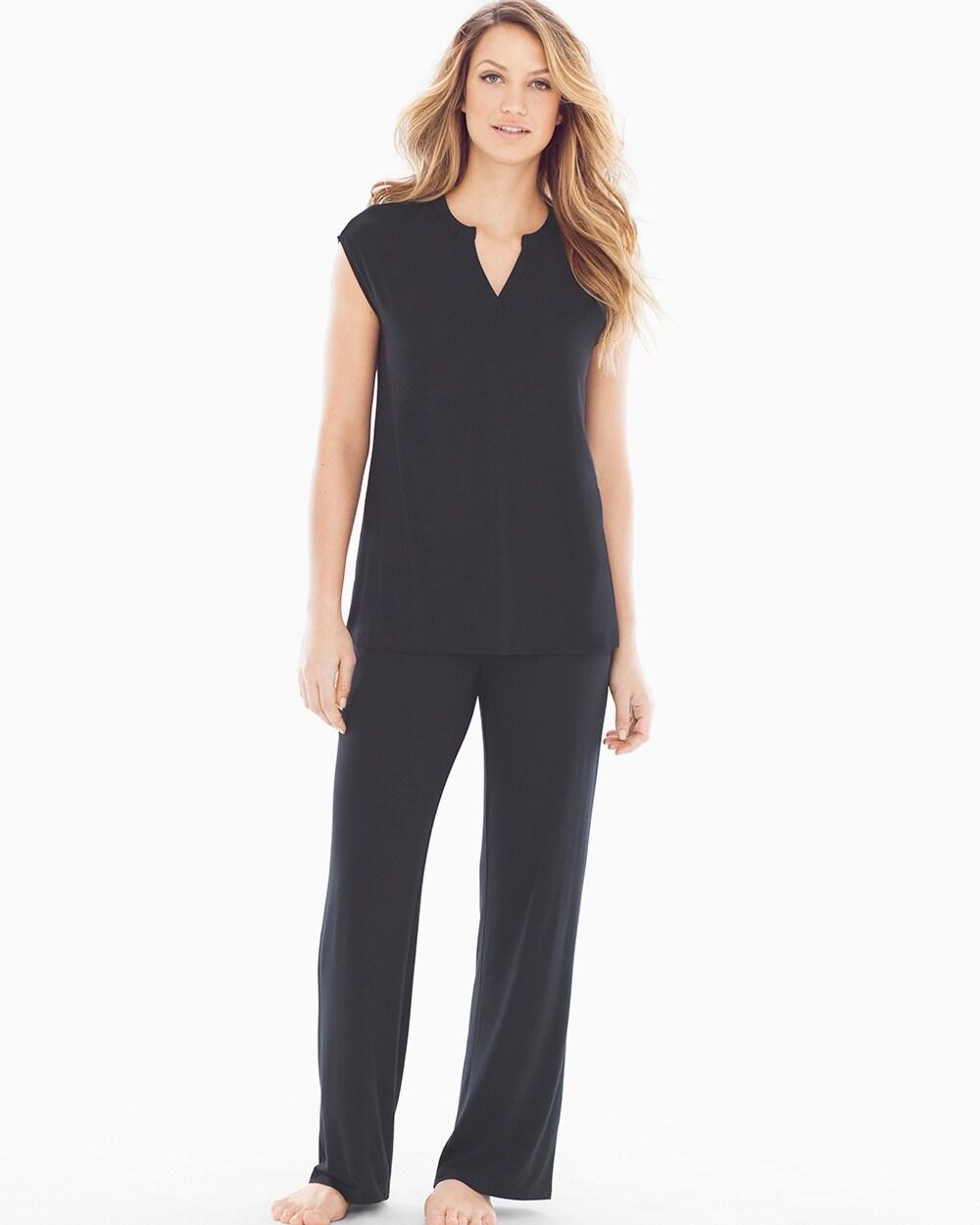 1e9785d685 Return to thumbnail image selection Cap Sleeve V-Neck Popover Pajama Top  Black