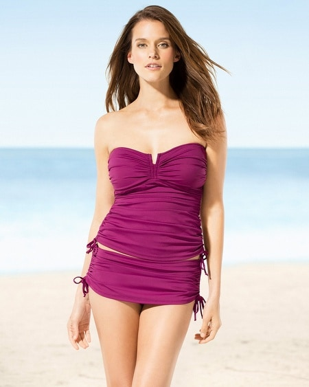 Tommy Bahama Pearl V-Front Bandeau Tankini Top Magenta