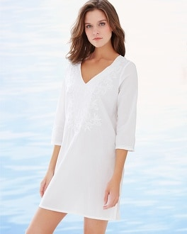 Embroidered Cotton Tunic Swim Cover Up White