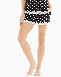 Embraceable Cool Nights Lace Trim Pajama Shorts Fab Dot Black