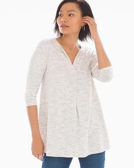 Soft Jersey Split Neck Tunic Heather Marble by