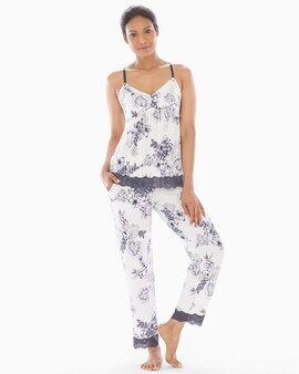 bebe4565bd Cool Nights Lace Trim Ankle Pajama Pants Luminous Floral Ivory