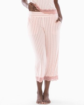 8c06a777fc Cool Nights Lace Trim Crop Pajama Pants Heritage Stripe Peach