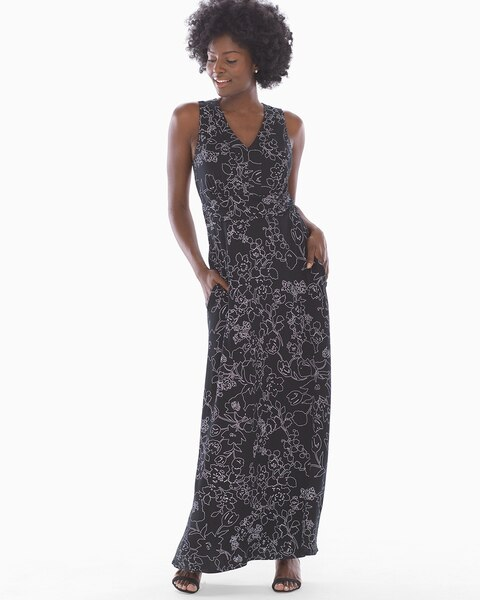 Soft Jersey V Neck Maxi Dress Dappled Sketch Black Soma