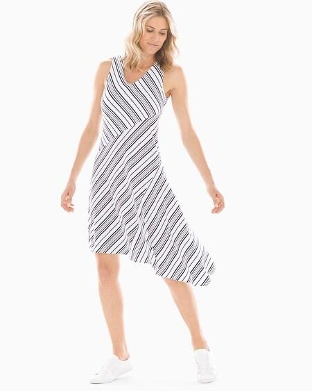 25f3dad4033 Soft Jersey Asymmetrical Hem Midi Dress Amity Stripe White