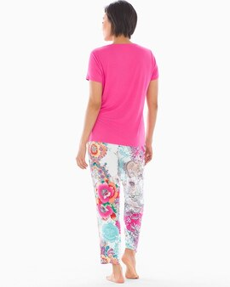 3f2ff6379e Cool Nights V-Neck Short Sleeve Ankle Length Pajama Set with Eyemask Boho  Patched Paisley