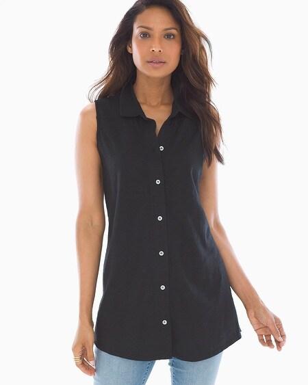 116837de26d Cotton Blend Slub Sleeveless Tunic Black