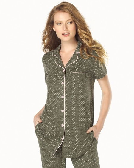 Short Sleeve Pajama Top Little Dot Heather Olive Green