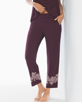 Cool Nights Ankle Pajama Pants Luscious Lace Border Marsala