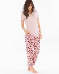 Cool Nights Ankle Pants Pajama Set Gracious Fan Vintage Pink