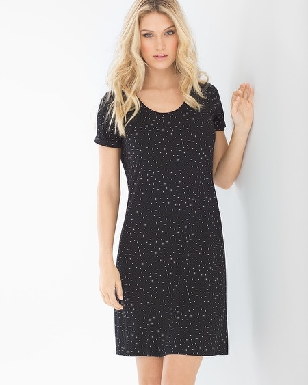 Short Sleeve Sleepshirt Festivity Black