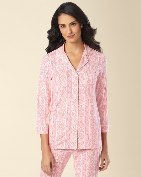 Notch Collar Pajama Top Proper Pink