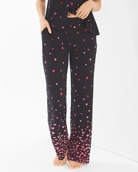 Cool Nights Pajama Pants Floating Hearts Border Black