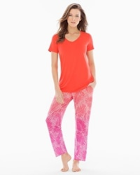 Cool Nights Ankle Pants Pajama Set Bali Palms Guava