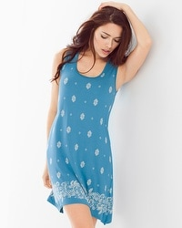 Cool Nights Sleeveless Sleepshirt Joyous Border Peacock