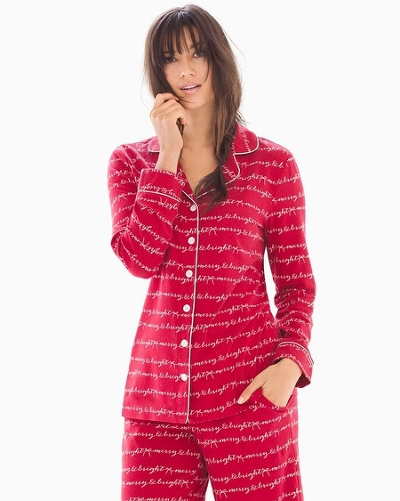 Long Sleeve Notch Collar Pajama Top Merry & Bright Words Ruby