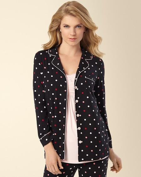 Notch Collar Pajama Top Wonderous Dot