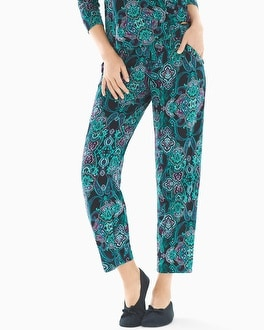 Cool Nights Ankle Pajama Pants Whimsical Scroll Black