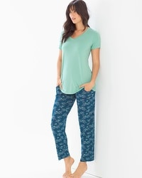 Cool Nights Ankle Pants Pajama Set Social Scene Wasabi