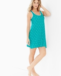 Embraceable Cool Nights Sleeveless Sleepshirt Eyelet Dot Rainforest