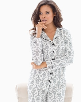 Embraceable Long Sleeve Notch Collar Pajama Top Chic Scroll Ivory