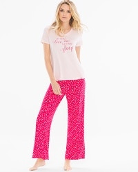 Cool Nights Short Sleeve Pajama Set Love Me Rose Quartz