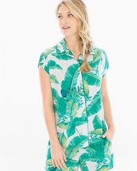 Cool Nights Cap Sleeve Notch Collar Pajama Top Lush Leaves Deep Lake