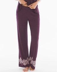 Cool Nights Pajama Pants Luscious Lace Border Marsala TL