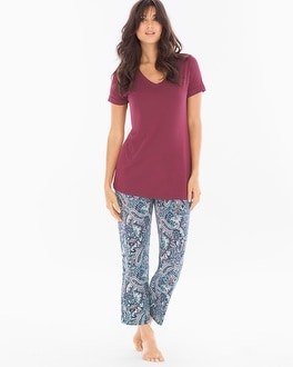 Cool Nights Ankle Pants Pajama Set Paisley Poise Marsala