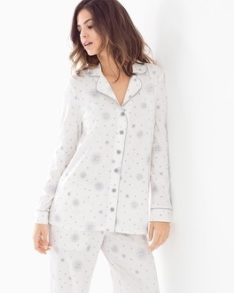 Embraceable Long Sleeve Notch Collar Pajama Top Wishing Star Ivory