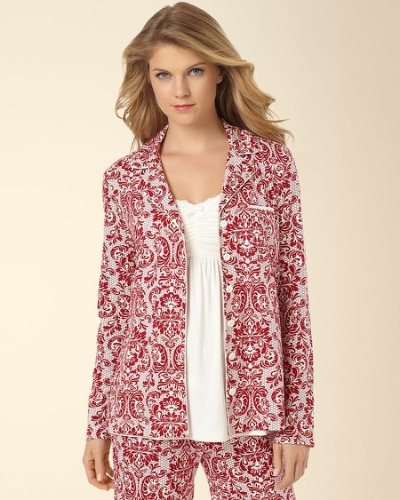 Notch Collar Pajama Top Baroque Ruby