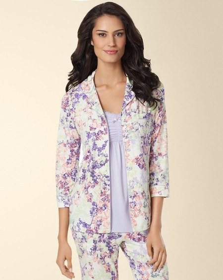 Notch Collar Pajama Top Dreamland Floral