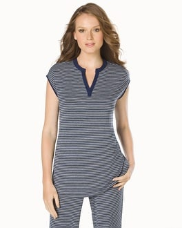 Embraceable Cool Nights Cap Sleeve Popover Pajama Top Victory Stripe Navy