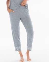 Cool Nights Ankle Pajama Pants Content Border Heather Silver