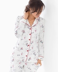 Embraceable Long Sleeve Notch Collar Pajama Top Mistletoe Ivory