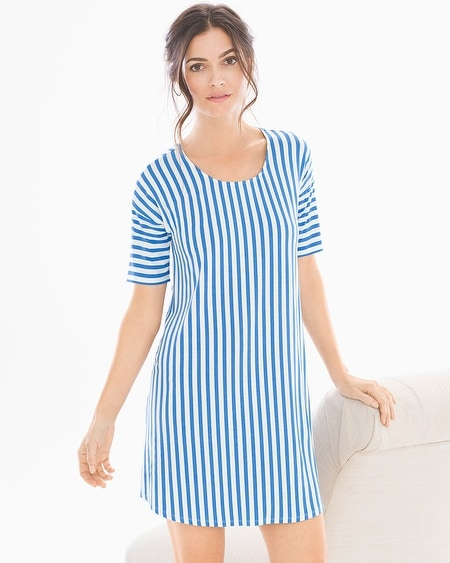 Loose Fit Short Sleeve Sleepshirt Capri Stripe