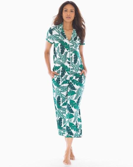 7a8e6c178e46 Cool Nights Short Sleeve Grosgrain Trim Notch Collar Pajama Top Palm Fronds  White