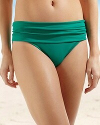 La Blanca Shirred Hipster Swim Bottom Emerald