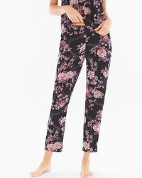 Cool Nights Ankle Pajama Pants Blooms Black