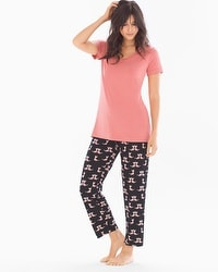 Cool Nights Ankle Pants Pajama Set Crafty Cat Japanese Maple