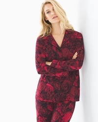Embraceable Long Sleeve Notch Collar Pajama Top Noble Rose Ruby