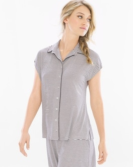 Cool Nights Cap Sleeve Notch Collar Pajama Top Infinite Stripe Ivory