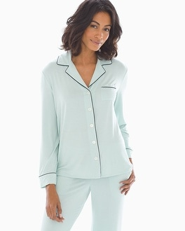 Long Sleeve Notch Collar Pajama Top Harbor Green by Cool Nights