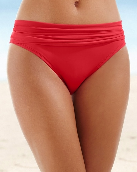 Shirred Swim Hipster Red