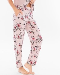 Cool Nights Ankle Pajama Pants Fancy Floral Vintage Pink