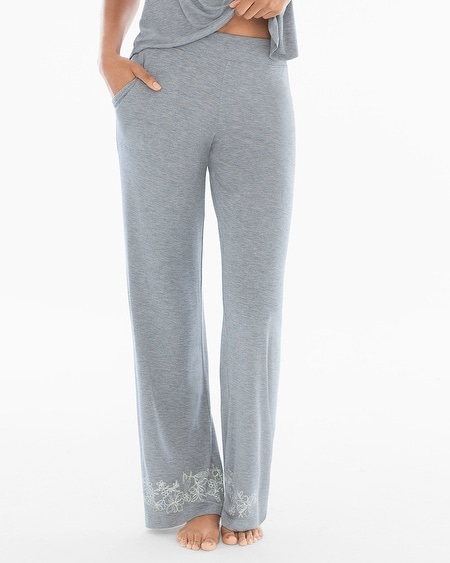 Pajama Pants Content Border Heather Silver TL